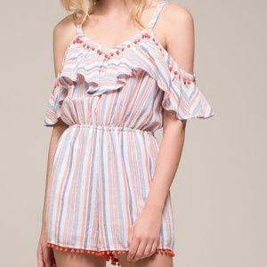 Moon River Cold Shoulder Pom Trim Romper